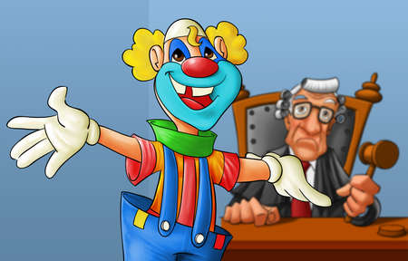 court with a clown in the first plan, judge is not happy photo