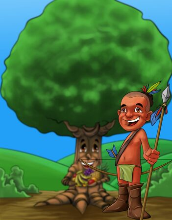 happy and young american native smiling with his spear in the hand and a big tree with a lot of fruits photo