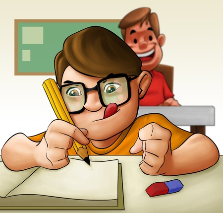 tarea escolar: un joven estudiante duro haciendo su examen Foto de archivo