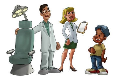 medical assistant: young and smiling dentist with a chair Stock Photo
