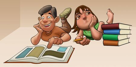 young girls with brown hair and green shirt studying with some books at her side photo