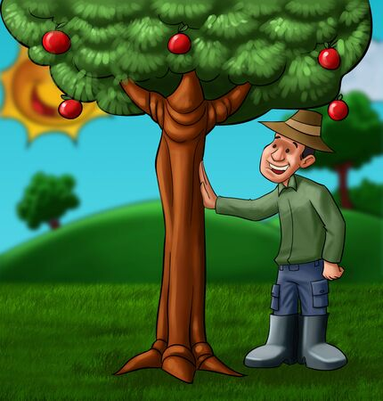 sear: beautiful landscape with a farmer sear a tree with a lot of fruits Stock Photo