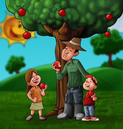 family eating some fruits near a tree on the field photo
