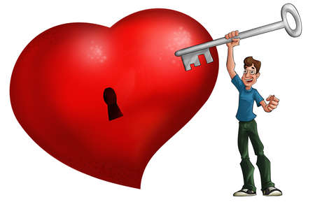 Big red heart and man with a big key photo
