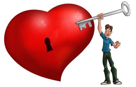 Großes rotes Herz und Mann mit einem großen Schlüssel Standard-Bild - 9848099