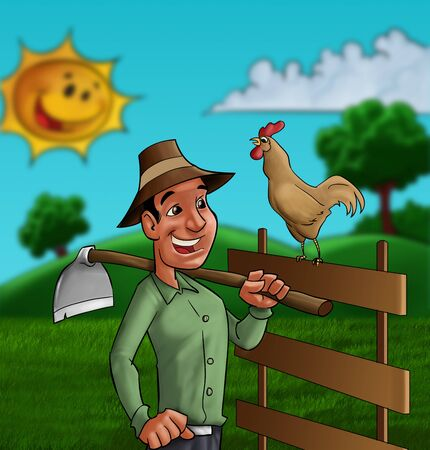 farmer going to work with his tool and a cock singing