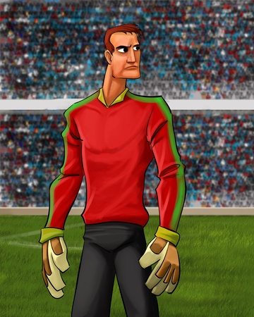 goal keeper: goal keeper on the field ready to play
