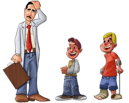 disability insurance: esame medico pensando di alcuni problemi o problemi medici e alcuni feriti ragazzi