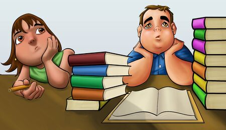young fat boy with a pile of book to read photo