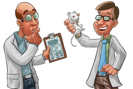 two scientists, one have a lab rat in his hand photo