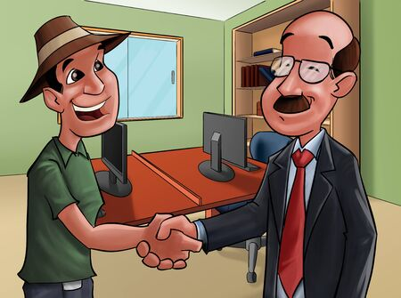 two people shake hands, they are doing a deal photo