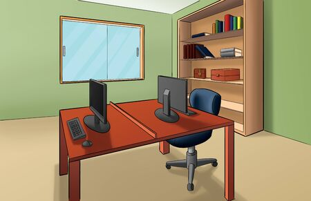 small office with some equipments like computers, table, desk, chair photo