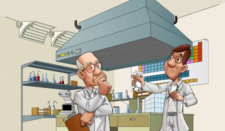 class room: two doctors looking a lab rat, there is so many tolls in the room Stock Photo