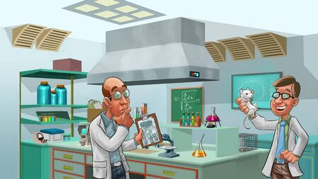doctors tools: two doctors looking a lab rat, there is so many tolls in the room Stock Photo