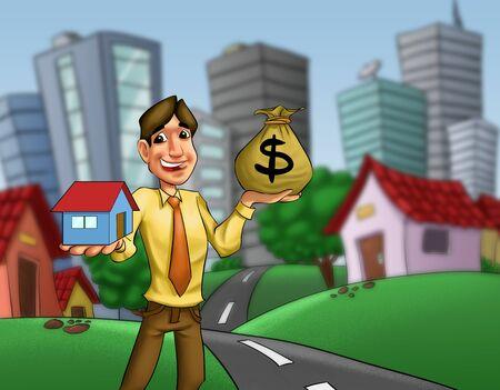 investment real state: hombre con una casa y un saco de dinero en sus manos Foto de archivo