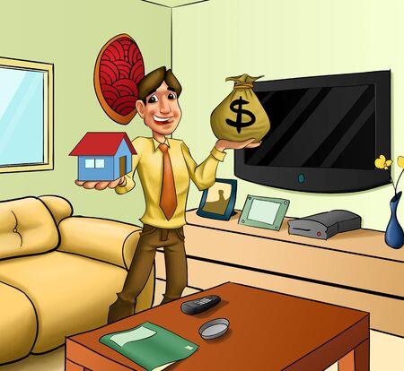 investment real state: hombre con una casa y un saco de money?s en sus manos Foto de archivo