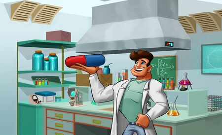 scientist with a big pill in his hand in the lab photo