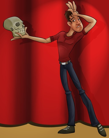thespian: a thin actor with a skull playing hamlet