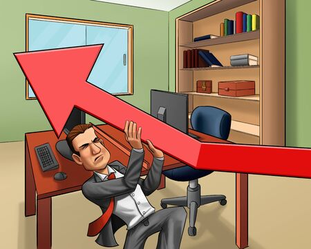 managing money: business man trying to get financial arrow up