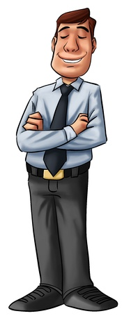 manager cartoon: young executive standing, he looks happy Stock Photo