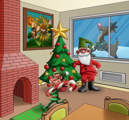 room with some xmas creatures and a xmas tree Stock Photo - 10319134