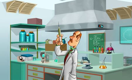 light classroom: medic with a big needle in the lab room