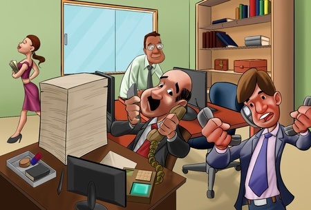 busy office: workers getting very crazy in the office