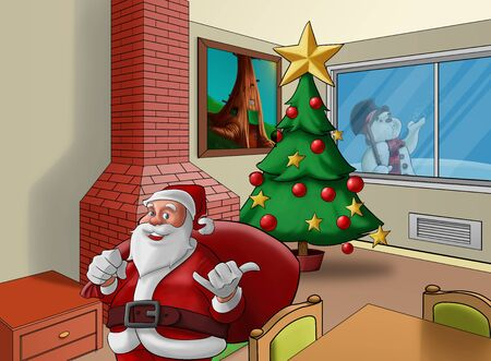 santa claus in a house in the xmas time photo