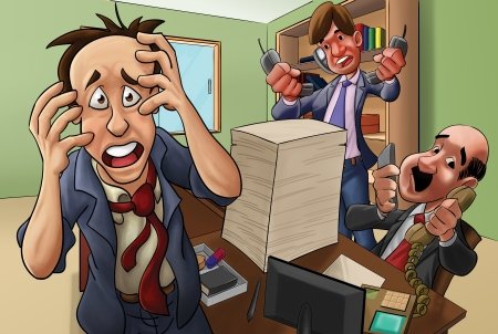 in trouble: small office with some equipments like computers, table, desk, chair. Executives very busy Stock Photo
