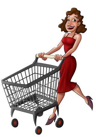 mujer en el supermercado: mujer que camina con un coche supermercado, ella es muy feliz