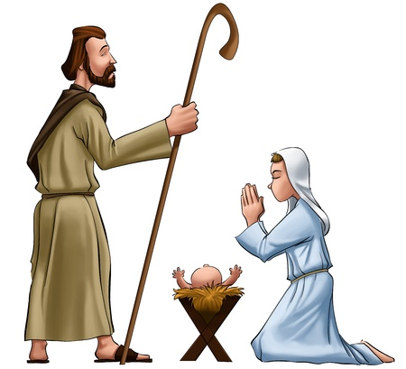 jesus praying: crhistmas scene with joseph mary and jesus baby Stock Photo