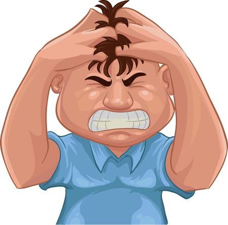 Un chico agarrando su cabello con enojo