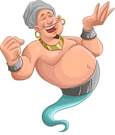 genie lamp: happy fat genie smiley in the moment when he appears