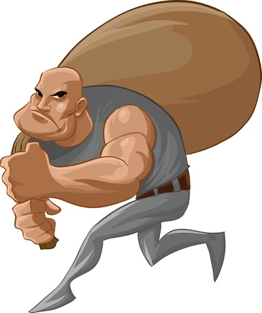 burglar: un ladro male con un sacco di soldi, che corre con attenzione