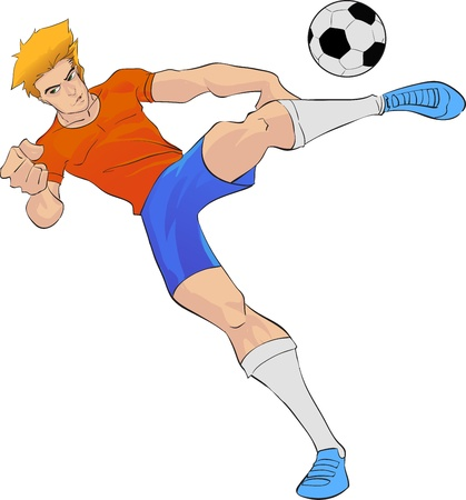 male feet: football player kicking the ball with strong power and will