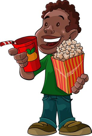 this boy is with beverage and popcorn, he is already to go to theater Vector