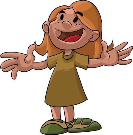 arms wide: A cartoon illustration of a young girl standing with her arms wide open. smiling and looking up. Illustration