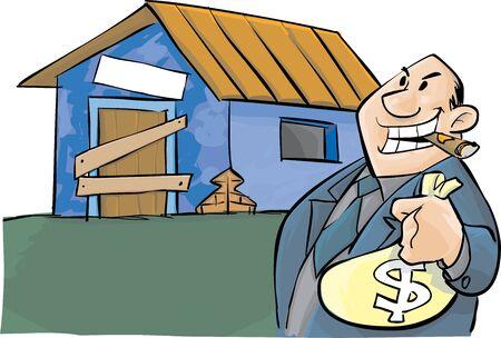 A alterar la política y una casa pobre  Ilustración de vector