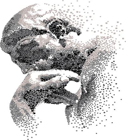 melancholy: Denker gebouwd door blokjes