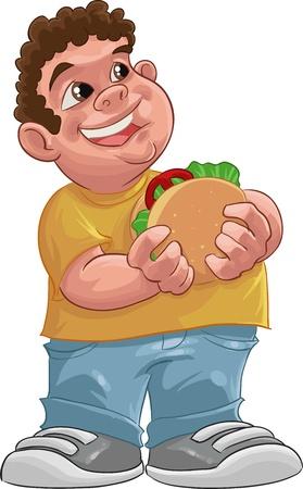 fat boy smiling and ready to eat a big hamburger