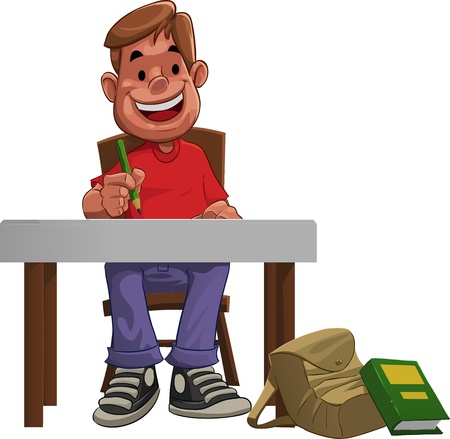 working on school project: a young hard student doing his home work