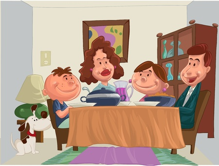 a happy family at the table to dinner Vector