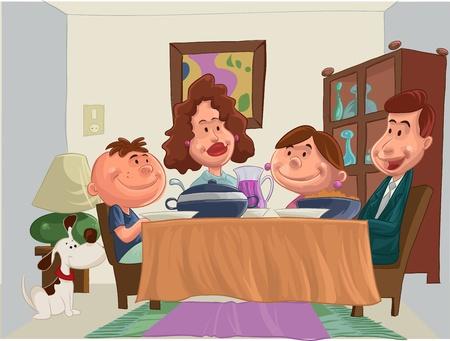 una familia feliz en la mesa para la cena