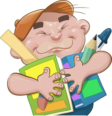 little Boy with your escholar itens going to school Vector