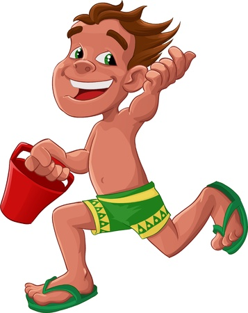 boy with a green shorts running with a red bucket Illustration