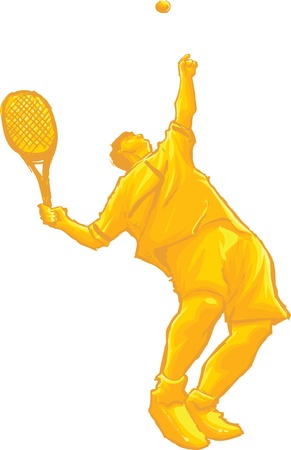double game: guy playing tennis Illustration