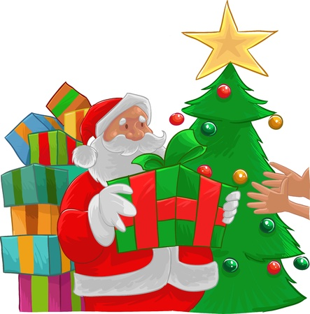 hollyday: Santa Claus giving a gift to two hands