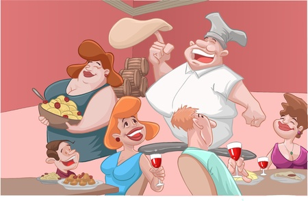 dinner date: some people in the italian restaurant Illustration