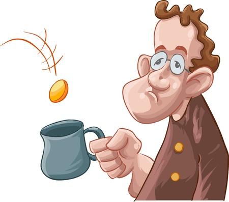 defenseless: a beggar getting some coin in his mug Illustration