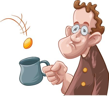 pauvre: un mendiant quelques pi�ces obtenir dans sa tasse Illustration